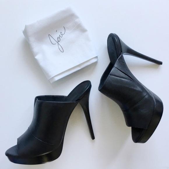 Joie Raja Black Leather Platform Mules